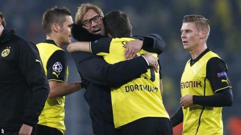 Jurgen Klopp celebrates victory for Borussia Dortmund