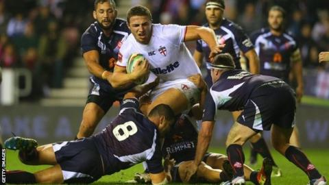 Sam Burgess in action against France