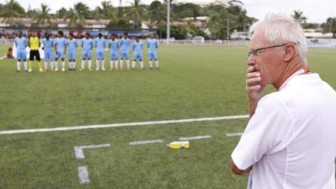Dutch coach Foppe de Haan with the Tuvalu national team in 2011.