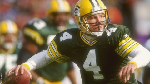 Brett Favre playing for the Green Bay Packers