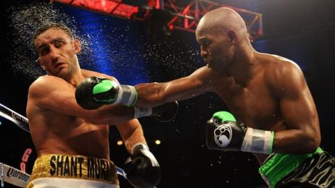 Bernard Hopkins throws a right at Karo Murat during their light heavyweight fight in Boardwalk Hall Arena on October 26, 2013.
