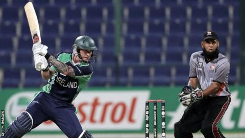 John Mooney hits a square cut in the Ireland innings