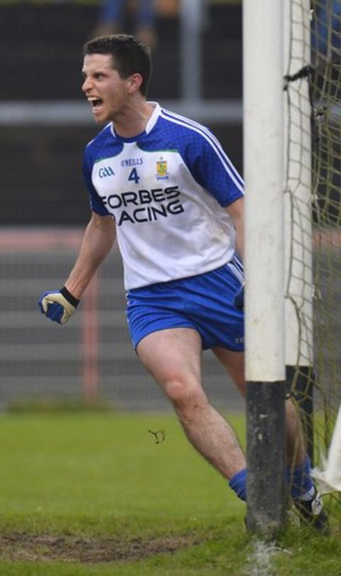 Ballinderry defender Michael McIver wheels away in delight after a scoring a goal against Donegal champions Glenswilly
