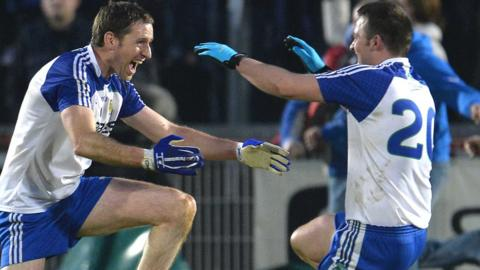Ballinderry players Enda Muldoon and Darren Conway celebrate after the 1-13 to 2-6 victory over Glenswilly