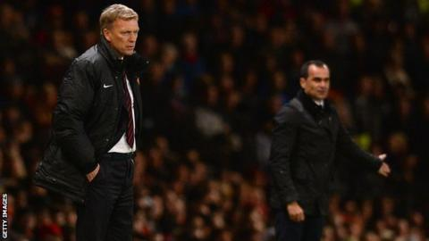 Manchester United manager David Moyes and Everton boss Roberto Martinez