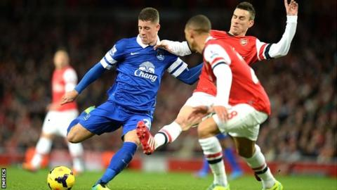 Everton midfielder Ross Barkley in action against Arsenal