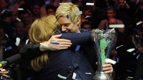 Neil Robertson celebrates his UK Championship win with his mother Alison