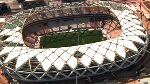Take a tour of the under-construction Arena Amazonia in Manaus