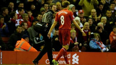 Liverpool captain Steven Gerrard walks off after getting injured in the game against West Ham