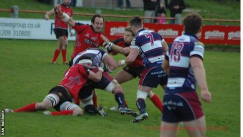 Redruth defending at the Recreation Ground.