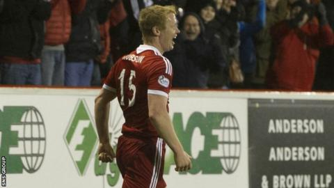 Barry Robson celebrates his goal against St Mirren