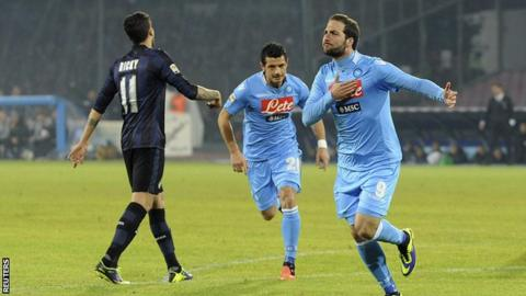 Napoli striker Gonzalo Higuain celebrates after scoring in the Serie A win against Inter Milan