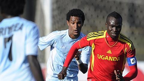 Eritrea in action against Uganda during the Cecafa Cup