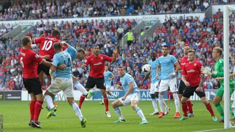 Fraizer Campbell scored twice as Cardiff City beat Manchester City 3-2 in their first home game in the Premier League.