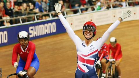 Becky James won four medals at the World Track Cycling Championships in Belarus, including sprint and keirin gold medals.