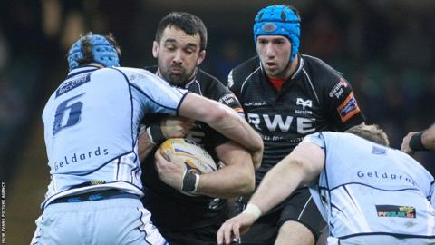 The Millennium Stadium hosted 'Judgement Day' a Welsh Pro12 double header with Scarlets facing the Dragons and Ospreys defeating Cardiff Blues (pictured).
