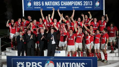 Wales celebrate winning rugby's Six Nations following a 30-3 victory over Grand Slam-chasing England at the Millennium Stadium.