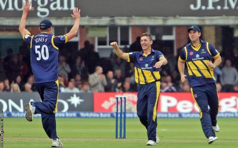 Glamorgan bowler Andrew Salter celebrates with Simon Jones taking the wicket of Nottinghamshire's Samit Patel in the YB40 final at Lord's. But the Welsh county lost the game by 87 runs.
