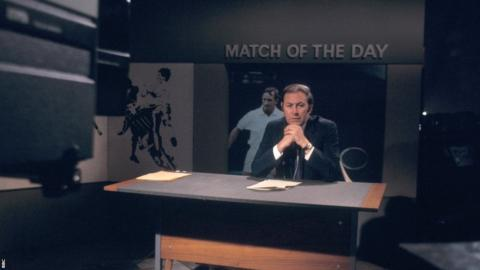 David Coleman in the Match of the Day studio, 1969.