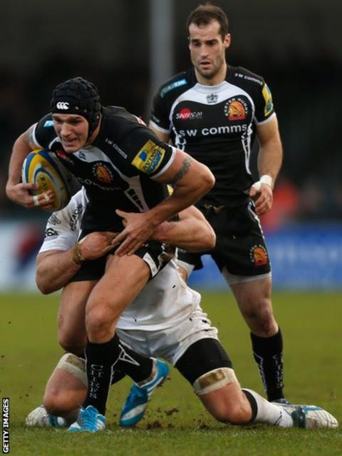 Exeter's Tom James takes on Newcastle as his side earn a 16-3 win in the Aviva Premiership