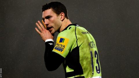 George North passes on a message as Northampton beat London Wasps 17-15 in the Aviva Premiership