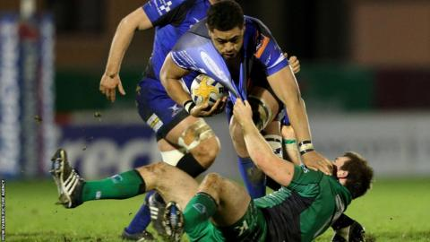 Newport Gwent Dragon's number eight Toby Faletau is tackled in his side's 14-11 defeat away at Connacht