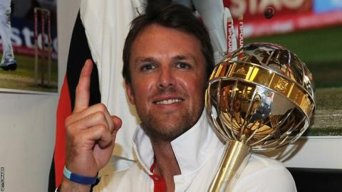 22 Aug 2011: Graeme Swann of England celebrates the series victory with the ICC Test Championship Mace in the dressing room as England become the number one ranked team during day five
