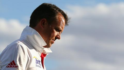 30 Nov 2013: Graeme Swann of England looks on after the end of play on day two of the tour match between the Chairman's XI and England at Traeger Park Oval.