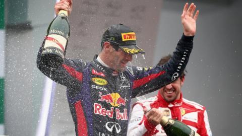 Mark Webber on the podium
