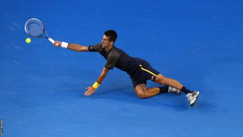 Novak Djokovic dives to play a forehand during his victory over Andy Murray in the Australian Open final. It was the Serbian's only Grand Slam success of 2013. He lost to Rafael Nadal in the semi-finals of the French Open, was beaten by Murray in the final at Wimbledon, before losing to Nadal in the US Open final.