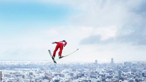 Japan's Kento Sakuyama flies through the air during the FIS Men's Ski Jumping World Cup at Okurayama Jump Stadium in Sapparo, Japan.