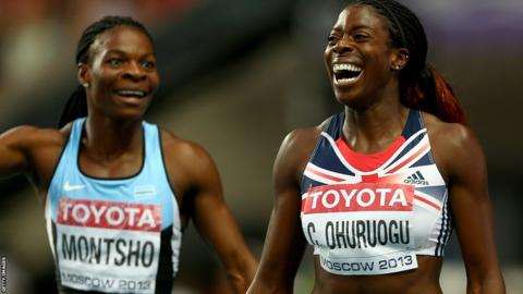 Christine Ohuruogu narrowly beat Amantle Montsho to win the 400 metre title in Moscow.