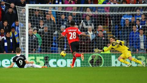 An unmarked Jay Rodriguez opens the scoring for Southampton against Cardiff City