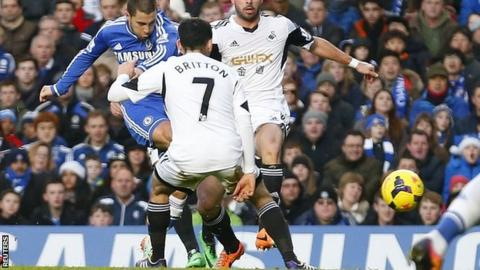 Chelsea winger Eden Hazard scores against Swansea