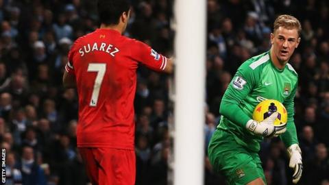 Manchester City's Joe Hart and Liverpool's Luis Suarez