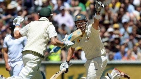 Shane Watson celebrates hitting the winning runs
