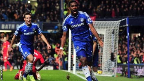 Samuel Eto'o celebrates
