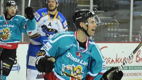 Evan Cheverie celebrates after scoring Belfast's second goal against Hull
