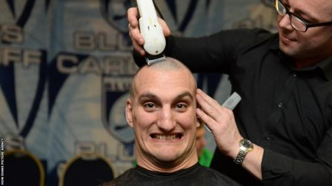 Wales captain Sam Warburton is among Cardiff Blues squad members having their hair shaved off to raise money in support of team-mate Matthew Rees, who is being treated for testicular cancer, and Velindre Cancer Centre in Cardiff