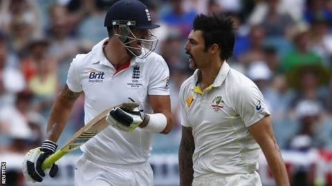 Kevin Pietersen and Mitchell Johnson