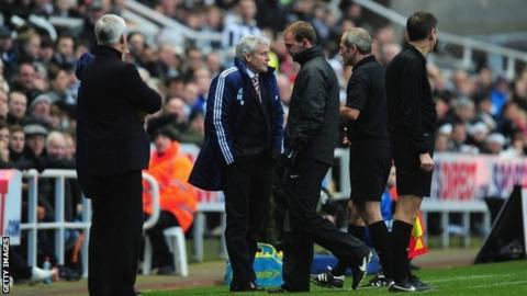 Mark Hughes is sent to the stands at St James's Park