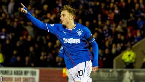Lewis Macleod celebrates his goal in 18 minutes