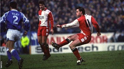 Jon Purdie lets fly against Birmingham City at St Andrew's, January 1994
