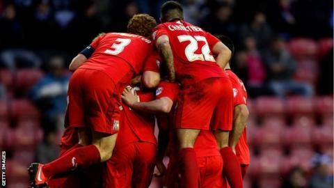 MK Dons celebrate Ben Reeves' second goal