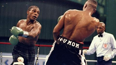 Herol Graham (left) fighting Charles Brewer in 1998