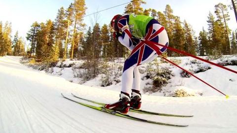 British biathlete in training