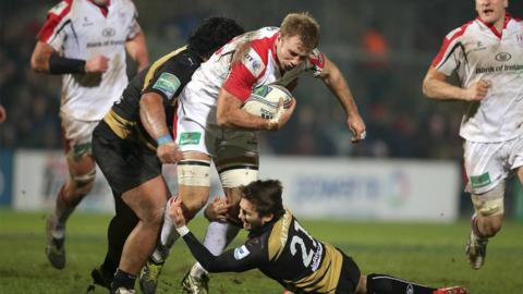 Number eight Roger Wilson makes ground for Ulster during their 27-16 victory at Ravenhill