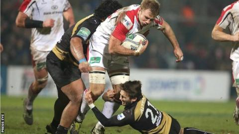Ulster flanker Roger Wilson powers forward against Montpellier