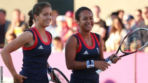 Britain's Laura Robson (left) and Heather Watson