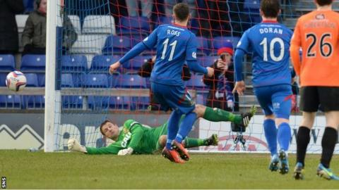 Radoslaw Cierzniak saves Nick Ross's penalty